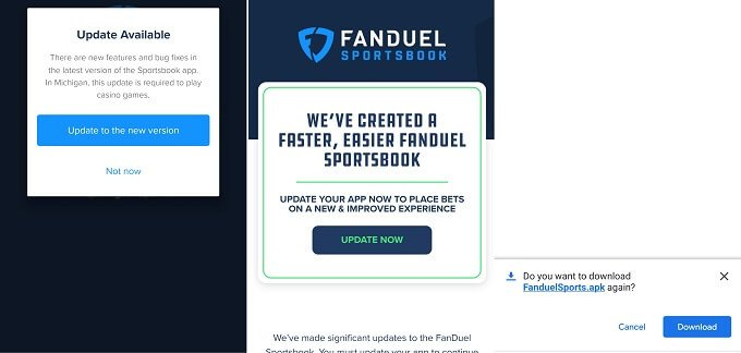 FanDuel app update on Android